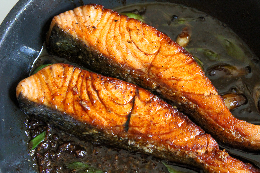 zalm bereiden in pan