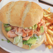 Pulled salmon sandwich